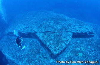 "A dive site at the ruin called ""The turtle"" is a large rock that looks like a turtle seen from above"
